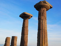 Athena Temple. Assos (Greek: Άσσος), also known as Behramkale or for short Behram, is a small historically rich town in Çanakkale Province, Ayvacık royalty free stock images