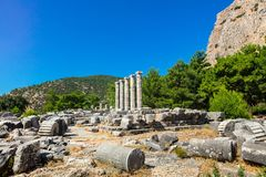 The Athena Temple in Priene, Turkey. Royalty Free Stock Photos