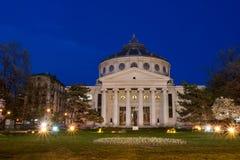 Athenaeum nella notte Fotografie Stock