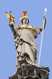 Athene. Pallas Athene sculpture on a fountain in front of the austrian parliament stock image