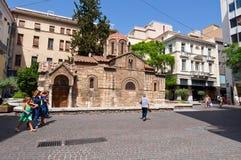 22 Athene-AUGUSTUS: De Kerk van Panaghia Kapnikarea op Emrou-straat op 22,2014 Augustus Athene, Griekenland Royalty-vrije Stock Fotografie