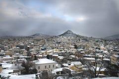 Athene dat in sneeuw wordt behandeld Stock Foto