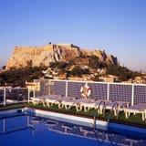Athene en de Akropolis stock afbeeldingen
