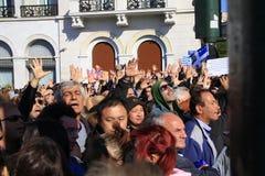 ATHENE, GRIEKENLAND, 28/10/2011 protesteert tijdens parade Royalty-vrije Stock Afbeelding