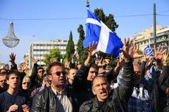 ATHENE, GRIEKENLAND, 28/10/2011 protesteert tijdens parade Stock Foto's