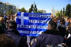 ATHENE, GRIEKENLAND, 28/10/2011 protesteert tijdens parade royalty-vrije stock afbeeldingen