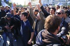 ATHENE, GRIEKENLAND, 28/10/2011 van Protesten tijdens parade Royalty-vrije Stock Afbeeldingen