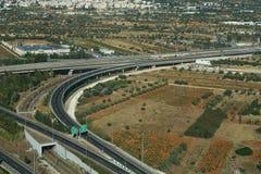 Athene, Griekenland - Augustus 15 2016: Van Attica Tallway (odos van Áttica) de luchtmening Stock Afbeeldingen