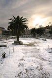 Athene, Griekenland - het Roman Forum in Sneeuw Royalty-vrije Stock Afbeelding