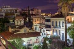 ATHENE, GRIEKENLAND - JANUARI 19 2017: Nachtfoto van de Kerk van Agia Aikaterini in Athene, Griekenland Royalty-vrije Stock Afbeelding