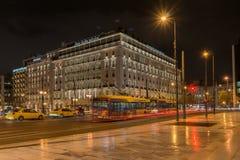 ATHENE, GRIEKENLAND - JANUARI 19 2017: Nachtfoto van Syntagmavierkant in Athene, Griekenland Royalty-vrije Stock Afbeeldingen