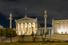 ATHENE, GRIEKENLAND - JANUARI 19 2017: Nachtmening van Academie van Athene, Griekenland Stock Fotografie