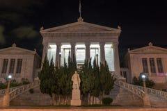 ATHENE, GRIEKENLAND - JANUARI 19 2017: Nachtmening van Nationale Bibliotheek van Athene, Griekenland Stock Foto's