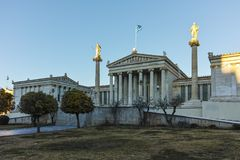 ATHENE, GRIEKENLAND - JANUARI 19 2017: Panorama van Academie van Athene Stock Fotografie