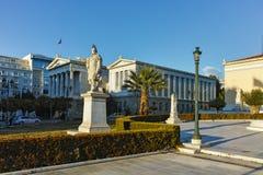 ATHENE, GRIEKENLAND - JANUARI 19 2017: Panorama van Nationale Bibliotheek van Athene Stock Fotografie