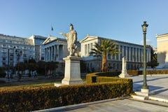 ATHENE, GRIEKENLAND - JANUARI 19 2017: Panorama van Nationale Bibliotheek van Athene, Attica Royalty-vrije Stock Foto's