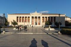 ATHENE, GRIEKENLAND - JANUARI 19 2017: Verbazende mening van Universiteit van Athene, Griekenland Royalty-vrije Stock Afbeelding
