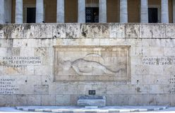Athene, Griekenland - Oktober 17, 2018: Verandering van Wacht Ceremony voor het Helleense Parlement die op Syntagmavierkant door  royalty-vrije stock foto