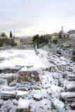 Athene, Griekenland - Oud Roman Agora in Sneeuw Stock Afbeelding