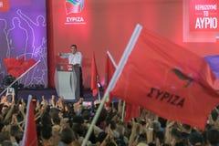 Athene, Griekenland 18 September 2015 Alexis Tsipras-eerste minister die van Griekenland een openbare toespraak geven Royalty-vrije Stock Foto