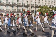 ATHENE, GRIEKENLAND - SEPTEMBER 16, 2018: Militaire parade voor Griekenland Bewaakt veranderende ceremonie royalty-vrije stock foto's