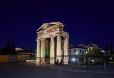 Athene Roman Agora tijdens wordt gebouwd regeert van Julius Ceasar en Caesar Augustus die stock foto's