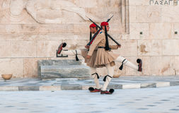 ATHENES, GREECE - March, 01: Evzones changing the guard at the T Stock Photography