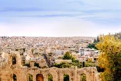 Athenes panorama, widok od akropolu, turystyczny miejsce Grecja europejczycy zdjęcia stock