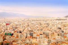 Athenes panorama, widok od akropolu, turystyczny miejsce Grecja europejczycy obraz stock