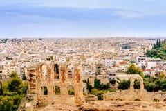 Athenes panorama, widok od akropolu, turystyczny miejsce Grecja europejczycy zdjęcia royalty free