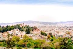 Athenes panorama, widok od akropolu, turystyczny miejsce Grecja europejczycy obrazy stock