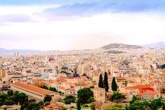 Athenes panorama, widok od akropolu, turystyczny miejsce Grecja europejczycy zdjęcie stock