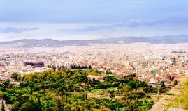 Athenes panorama, widok od akropolu, turystyczny miejsce Grecja europejczycy obraz royalty free
