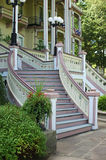 Atheneum Steps. The front steps of the Atheneum, the largest hotel in Chautauqua, NY and one of the largest all wood structures in the world stock image