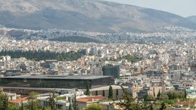 Athenian Acropolis aerial panoramic view in Athens stock photography