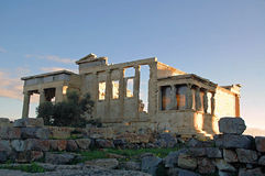 The Athenian Acropolis 4. The Acropolis of Athens is an ancient citadel located on a high rocky outcrop above the city of Athens and contains the remains of Royalty Free Stock Photo
