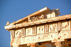 The Athenian Acropolis 6. The Parthenon on the large background of blue sky Stock Photo