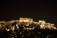 Athenian Akropolis at Night--Two Stock Photography