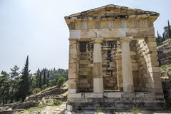 Athenian Treasury at Delphi, Greece Stock Photo