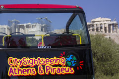 Athens' open top sightseeing tour bus Royalty Free Stock Image