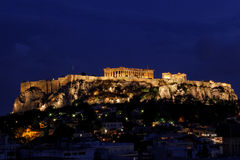 Athens Acropolis. The Parthenon temple, an Otoman wall and the Erechtheum on the Acropolis in Athens Greece at night Stock Photo