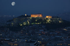 Athens Acropolis at full moon. Acropolis the landmarks of Athens at full moon Royalty Free Stock Photos