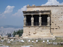Athens, Acropolis,Greece. Caryatids in Erechtheum from Athenian Acropolis,Greece Stock Image