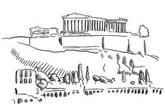 Athens Acropolis Greece Vintage Sketch Stock Images