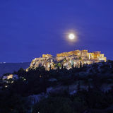 Athens, acropolis illuminated under full moon. Athens Greece, acropolis illuminated under full moon Royalty Free Stock Photos