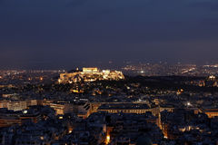 Athens and Acropolis by night. Panoramic view of Athens and Acropolis by night Royalty Free Stock Photos