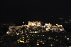 Athens and Acropolis by night. Panoramic view of Athens and Acropolis by night Stock Photo