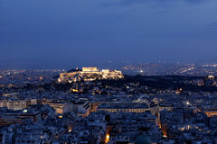Athens and Acropolis by night. Panoramic view of Athens and Acropolis by night Stock Image