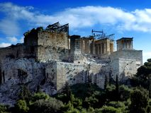 Athens Acropolis. The old temple located in the Acropolis in Athens , Greece, was built between 421-406 , is dedicated to the same extent goddess Athena Royalty Free Stock Images