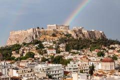 Athens Acropolis Rainbow Royalty Free Stock Image